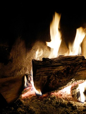 The fireplace of the restaurant in hotel Anemi in the Zagori region of Epirus, Greece